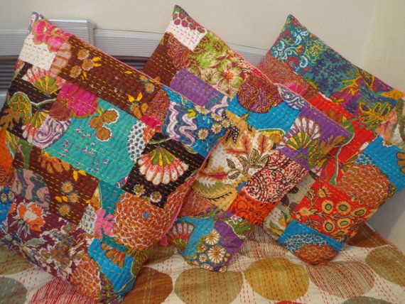 set of 10 cotton kantha cushion cover wholesale lot
