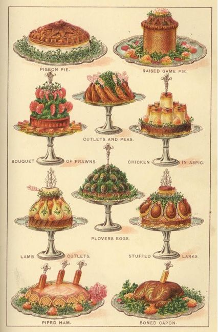 More Mrs Beeton's - meat cakes! And so much garnish...