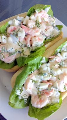 Recipe for a shrimp sandwich with shrimp, cucumber, dill, and a mayo dill lemon sauce