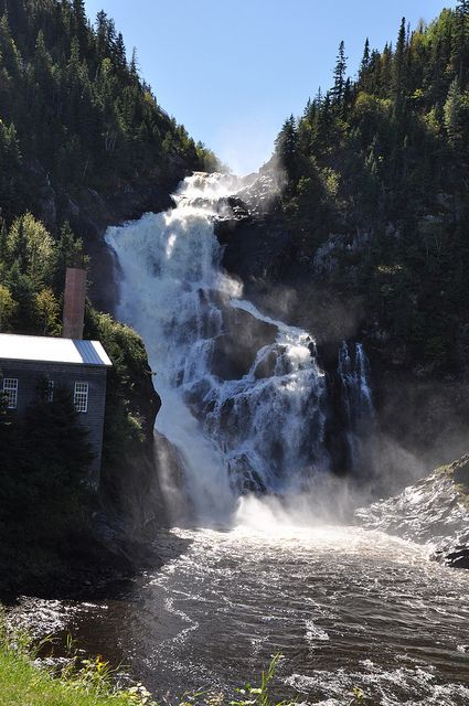 Val-Jalbert in Quebec,Canada and Ouiatchouan Falls - a ghost town. Shown here is the old pulp mill that closed in 1927, leaving the town without a source of income.
