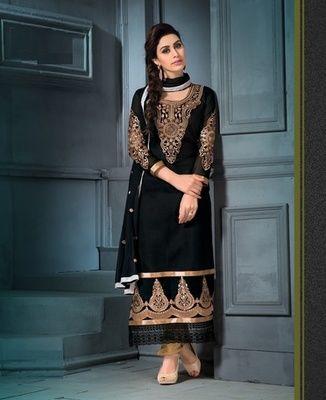Black georgette embroidered semi stitched salwar with dupatta