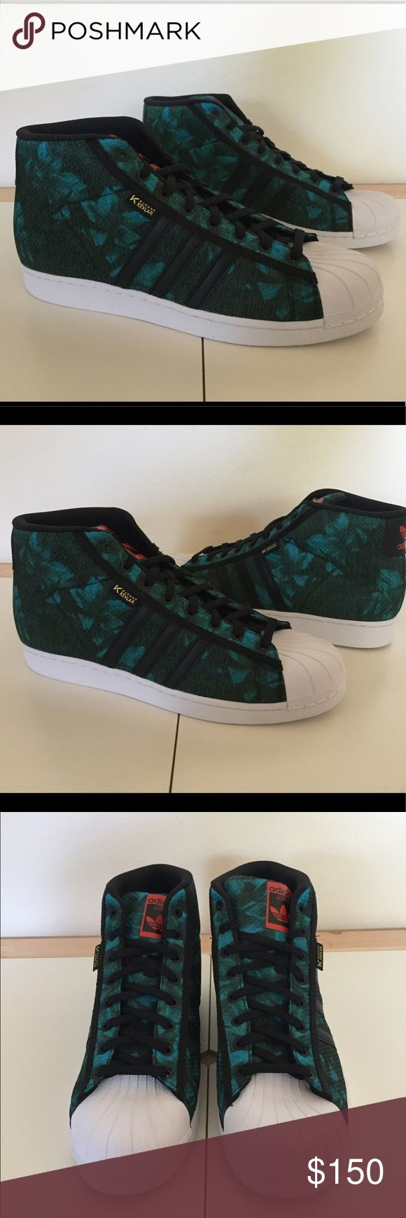 RARE Adidas Pro Mode DuPont Kevlar Sneakers Sz 13 Brand : Adidas  Style Code : F37669  Size : Men's 13  Color : Green  VERY RARE SNEAKER  100% AUTHENTIC  Tropical flower print  BRAND NEW.  NO BOX.  NEVER WORN. Adidas Shoes Sneakers