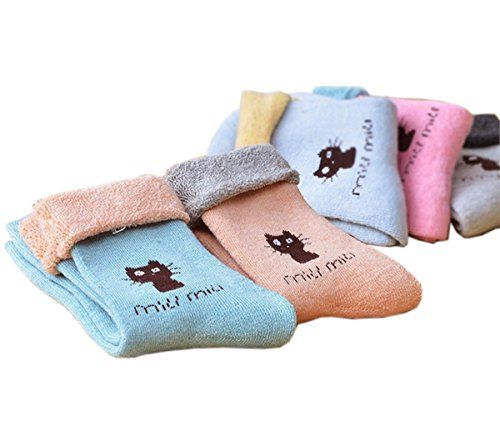 Gurteen Womens Girls Winter Thicken Thermal 100 Cotton Fleece Socks 10 Pairs Kitty *** Click image for more details.