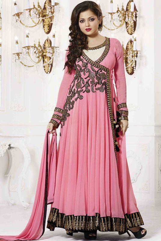 USD 67.26 Drashti Dhami Pink Georgette Ankle Length Anarkali Suit 54442