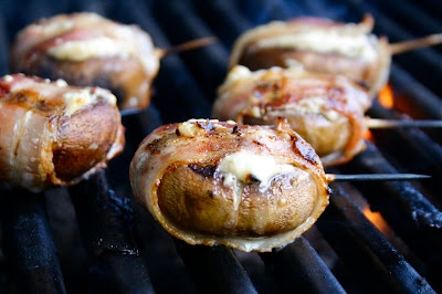 This might just be heaven in your mouth... Blue Cheese Filled Bacon Wrapped Mushrooms