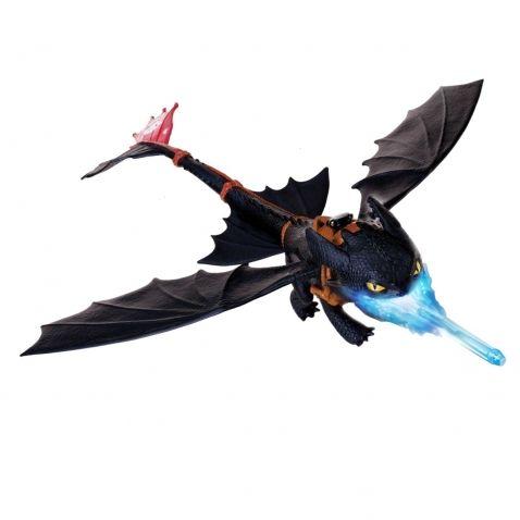 Jak vycvičit draka - Velká Bezzubka chrlící oheň, 55 cm. Nádherná figurka draka Bezzubky, která umí střílet realistický modrý oheň. Stačí jí vložit do tlamy modrý projektil, přidat trochu vody a dráček vystřelí projektil zahalený párou. Jeho rozpětí křídel je neuvěřitelných 55 cm.