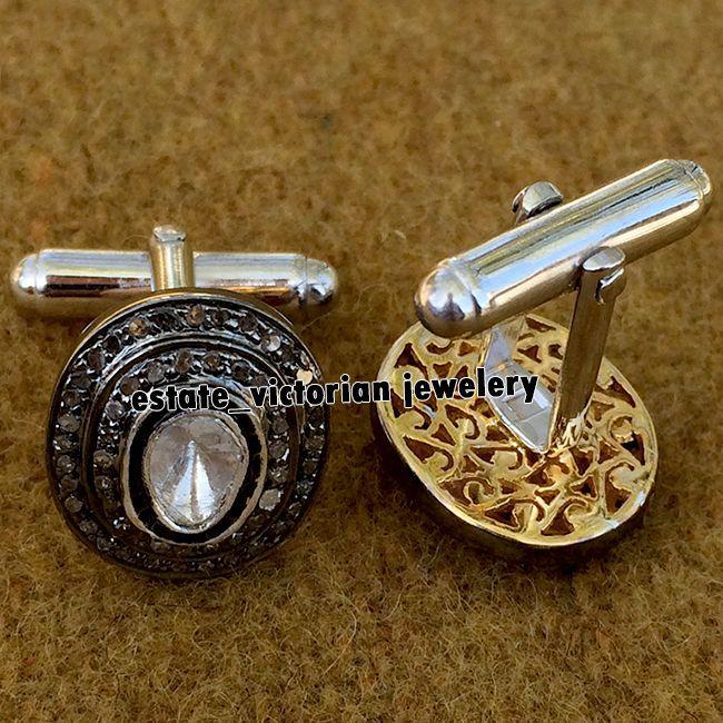 Estate Retro 2.52ct Natural Rose Solitaire Antique Cut Diamond Cufflinks Jewelry #estateVictorianJewelery #FiligreeNaturalDiamondAwesomeMensCufflinks