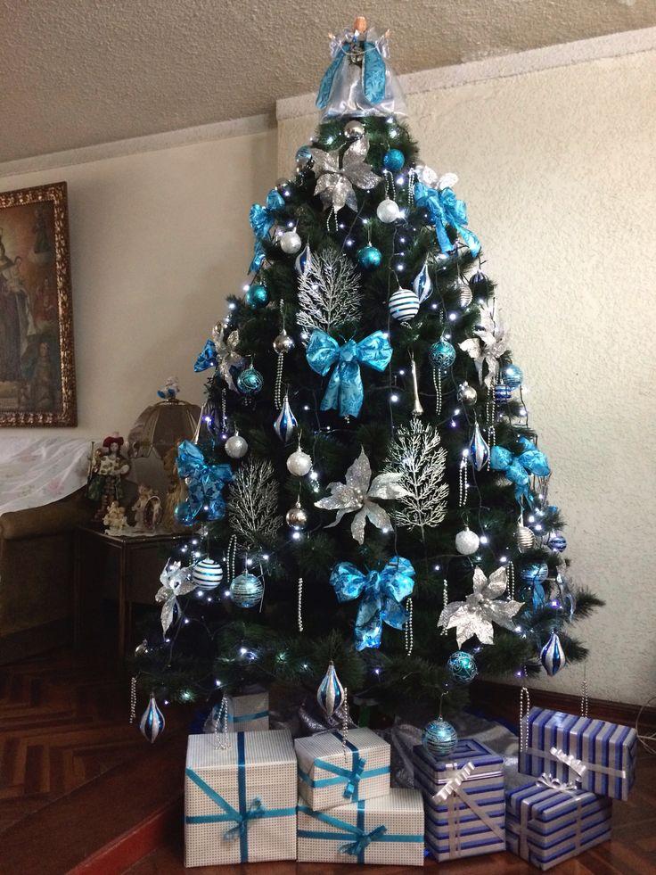 M s de 25 ideas nicas sobre navidad turquesa en pinterest - Como decorar un arbol de navidad azul ...