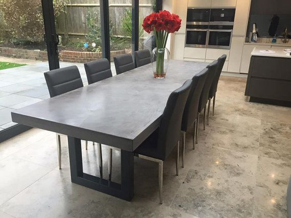 Polished Chunky Concrete Dining Table with Industrial Metal Frame Modern Contermporary Style
