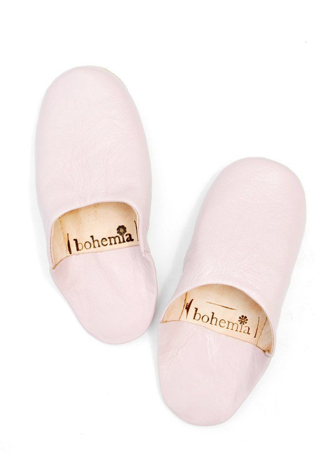 Moroccan Leather Slippers- Pale Rose (M~7-8)
