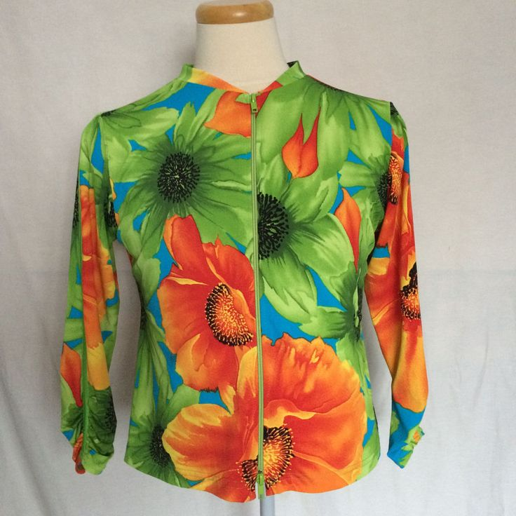 Joseph Ribkoff Trends Jacket Sz 10 Floral Pattern Colorful 2-Way Zip Closure #JosephRibkoff #BasicJacket #Casual
