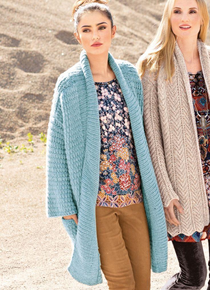 Модное пальто свободного прямого силуэта: без застежек, с удобными карманами и с привлекательным сочетанием узоров.     РАЗМЕРЫ 36/38 (40/42) 44/46 ВАМ ПОТРЕБУЕТСЯ Пряжа (78% натуральной шерсти, 12% к…