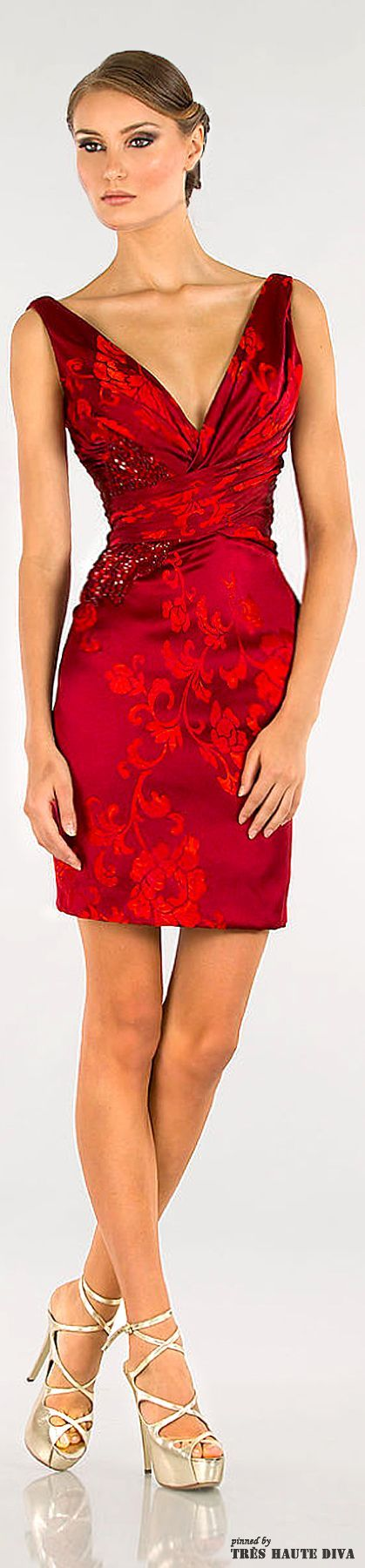 Christmas Red Cocktail Dress - Abed Mahfouz  2014 Women, Men and Kids Outfit Ideas on our website at 7ootd.com #ootd #7ootd