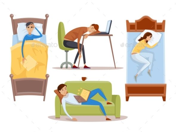 Sleeping Young Woman at Home Vector Illustration -  Vector EPS