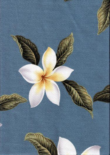 Plumeria Blue Tropical Hawaiian Plumeria Frangipani Flowers on a  cotton Upholstery Fabric.  More fabrics at: BarkclothHawaii.com
