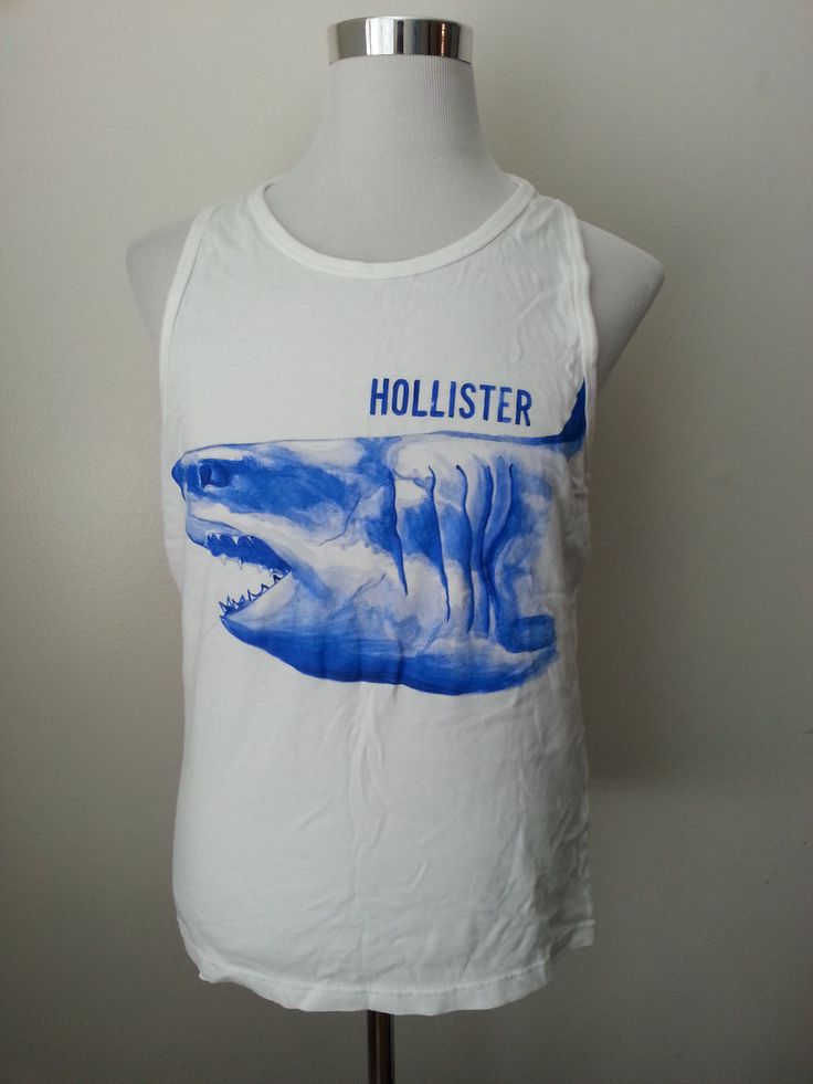 #men HOLLISTER Men's Top Tank White Shark Image Size M 100% cotton withing our EBAY store at  http://stores.ebay.com/esquirestore