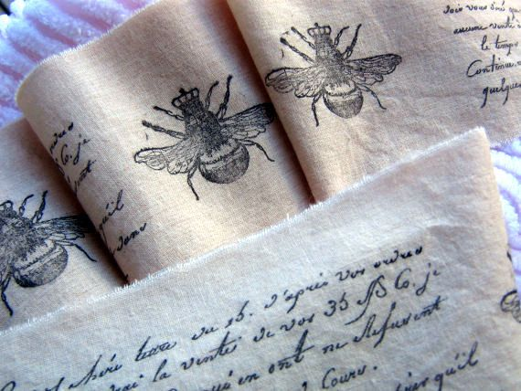 French Script QUEEN BEE Tea Dyed Hand Stamped Fabric Trim On Etsy 485