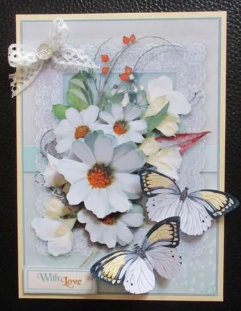 Fleeting Memories   8 on Craftsuprint created by Davina Rundle - I printed on to matte photo paper. Mounted the topper on to a card and layered, but just using the decoupage elements. Added the butterflies, a lace bow with glitter drop centre, a sentiment and a touch of glitter. Simply gorgeous.....