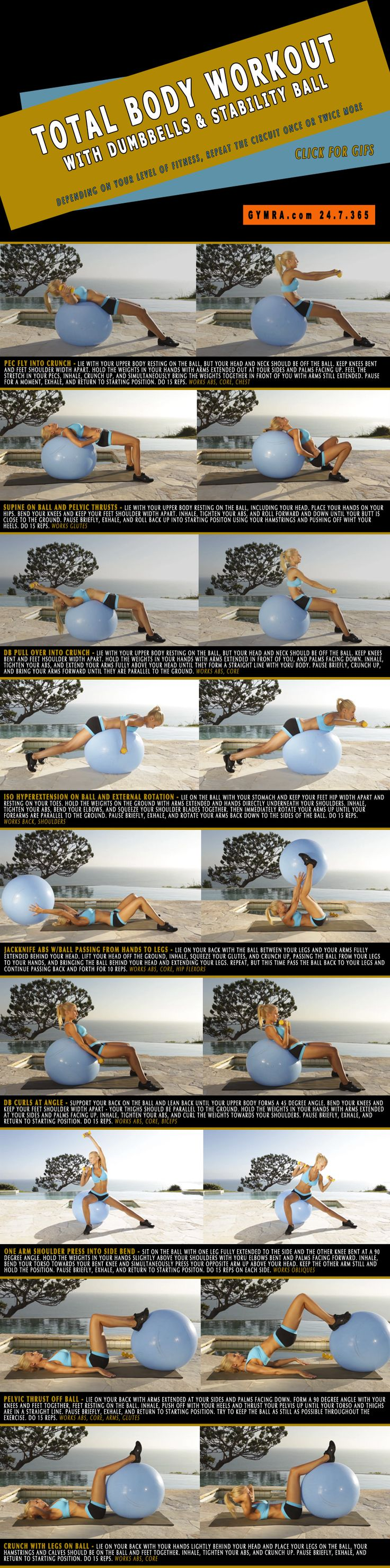 Full Body Workout with Dumbbells & a Stability Ball. A stability ball engages all your #muscles and builds strength while improving stability. There aren't many other #fitness tools that work your entire body better than an #exercise ball will! Add #dumbbells into the mix and you'll be feeling the burn majorly! This head to toe toning routine will get you into excellent shape and feeling great! Click on the image to see the moves in GIF form. #weightloss #workout #abs #health