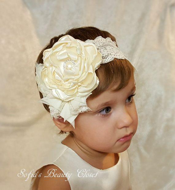 Ivory headband. Ivory headband baby. Ivory headpiece. Lace