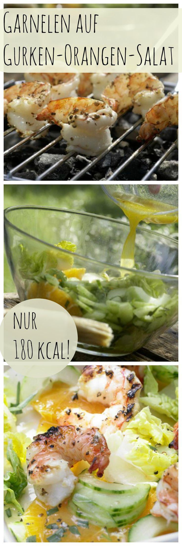 Knackig, fruchtig, würzig: Garnelen auf Gurken-Orangen-Salat mit Orangen-Limetten-Sauce | http://eatsmarter.de/rezepte/garnelen-gurken-orangen-salat