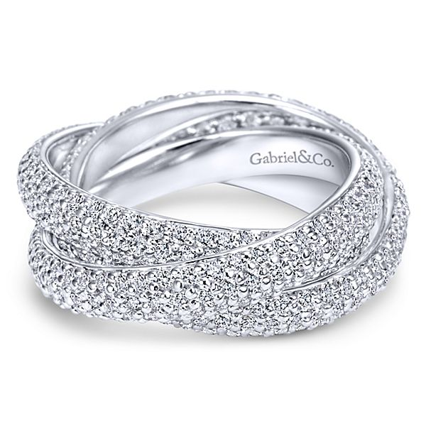 14k White Gold Contemporary Eternity Anniversary Band