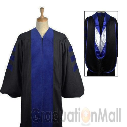 Deluxe Doctoral Graduation Gown Hood Package Phd Blue
