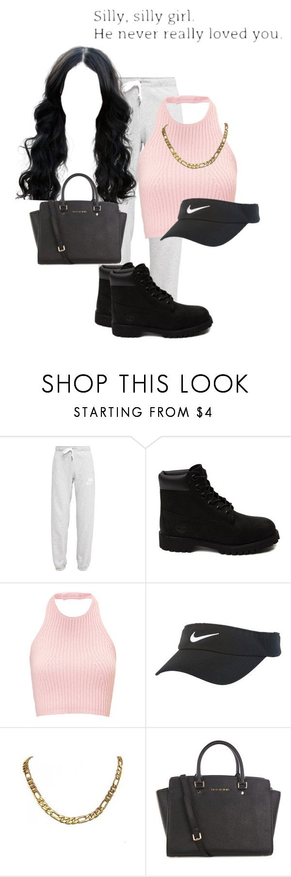 """1:43 AM add me on snapchatt @ohhitsmanii"" by jiggyshawty ❤ liked on Polyvore featuring NIKE, Timberland and MICHAEL Michael Kors"