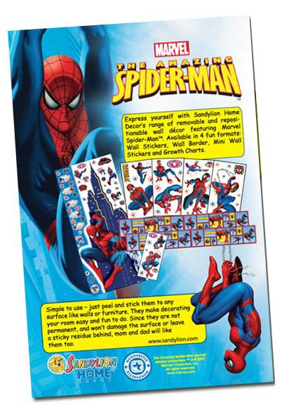 Insert ad  for Sandylion Stickers in Spiderman comic book.