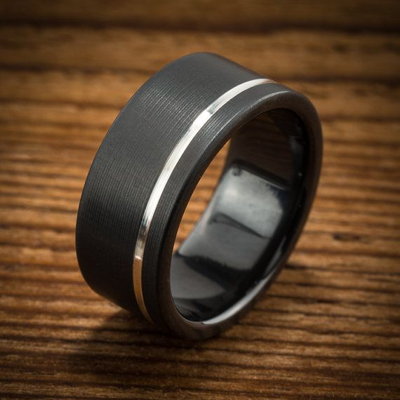 Men's Wedding Band Comfort Fit Interior Black Zirconium Silver Stripe Ring