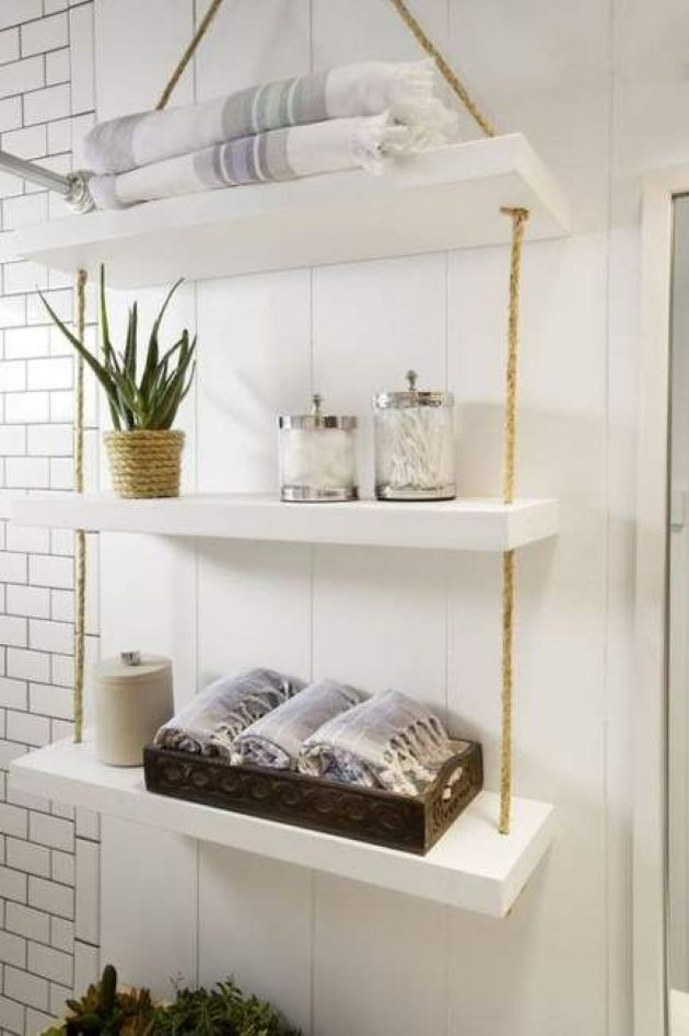 Simple And Smart Bathroom Hanging Shelf With Thick White Shelves And Ropes Bathroom Shelf Decor Shelves Small Bathroom Storage