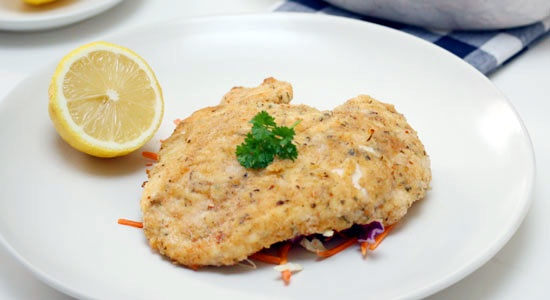 Chicken Schnitzel with Coleslaw Recipe - weightloss.com.au