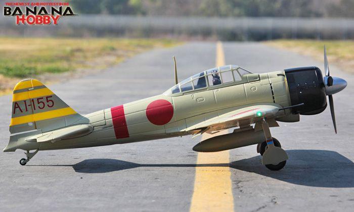 Tan Giant Japanese A6M3 Zero RC Warbird Airplane - Radio Controlled Giant Japanese A6M3 Zero Military Plane - RC
