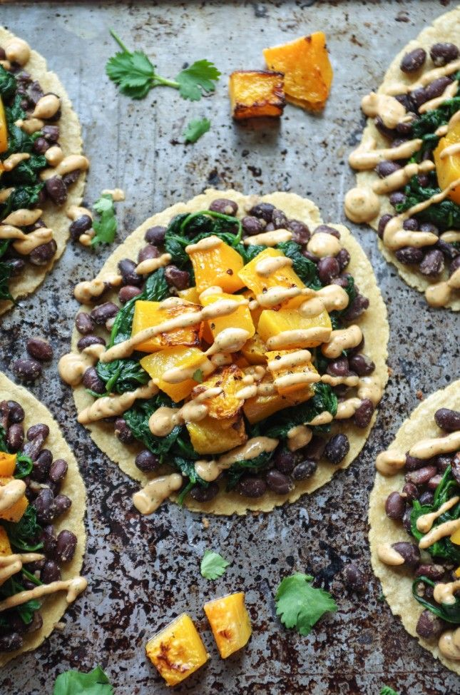 10 options for vegetarian tacos.Butternut squash and black bean tacos