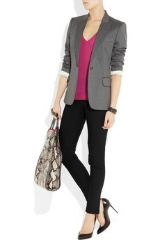 Stella McCartney's intuitively chic and modern essentials come in eye-popping brights for Cruise, and this fuchsia fine-knit wool sweater is an effortless way to work the look. Tap the label's urban elegance with a tailored blazer and sleek pumps.     Shown here with: Stella McCartney jacket and bag, Roberto Cavalli cuff, Eddie Borgo bracelet, Theory pants, Christian Louboutin shoes.