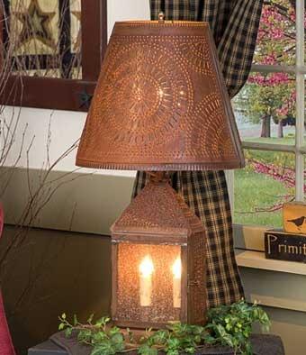 Rustic tin harbor lamp with chisel design
