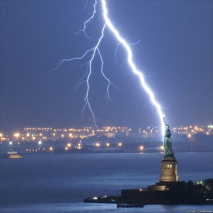 Lightning over the Statue of Liberty in New York