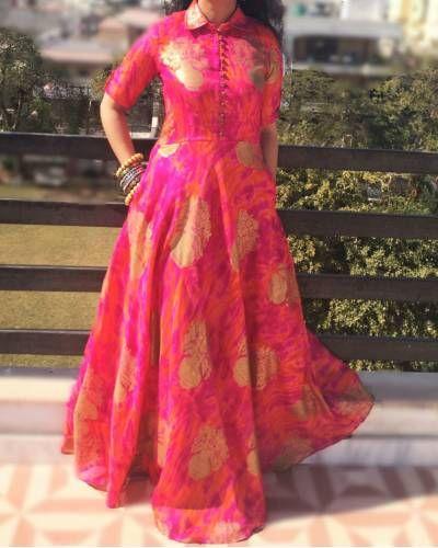 Pink Golden Dress