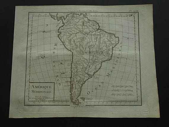 SOUTH AMERICA map of South America 1804 original 200 years