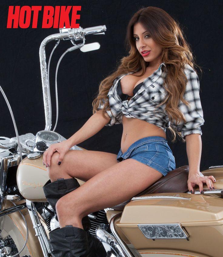 Hot Bike Girls Model Priscilla with a custom a few custom Harley-Davidson motorcycles