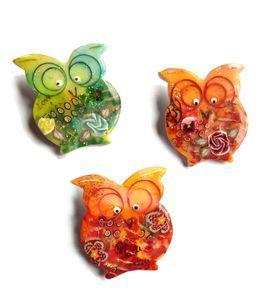 trois chouettes - #polymerclay #pastepolimerche #orange #green