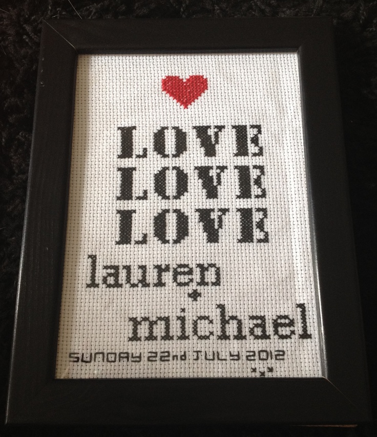 Cross stitch wedding gift