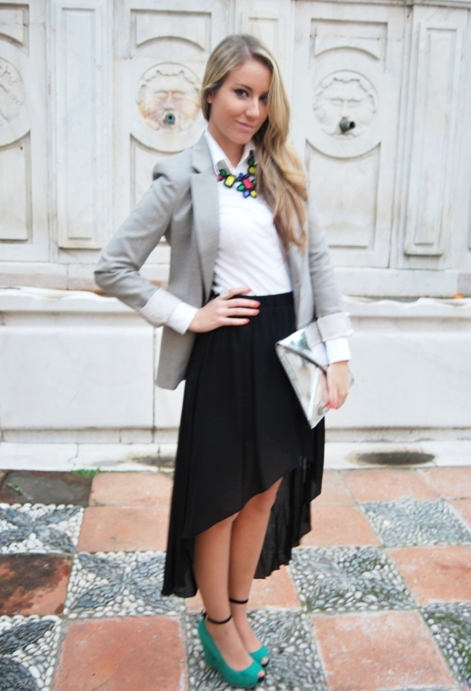 "Revival on top  #fashion #style ""tail hem"", Zara in Shirt / Blouses, DIY in Jewelry, Zara in Blazers, Zara in Skirts, Zara in Clutches, Zara in Heels / Wedges"