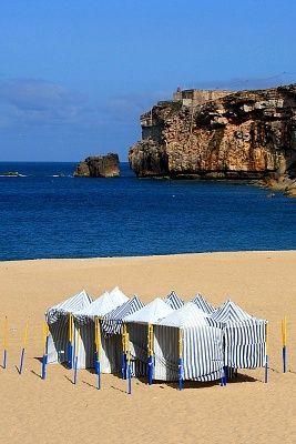 Nazaré Beach at sunny portuguese summer