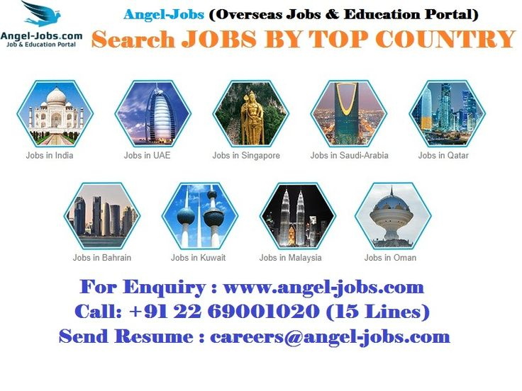 Search Jobs by TOP Country #India #UAE #Singapore #SaudiArabia #Qatar #Bahrain #Kuwait #Malasiya #Oman #AngelJobs #OverseasJobsandEducationPortal #Careers #jobs  Apply for Jobs Visit : https://goo.gl/hjRdAS Call: +91 22 69001020 (15 Lines) Send Resume : careers@angel-jobs.com
