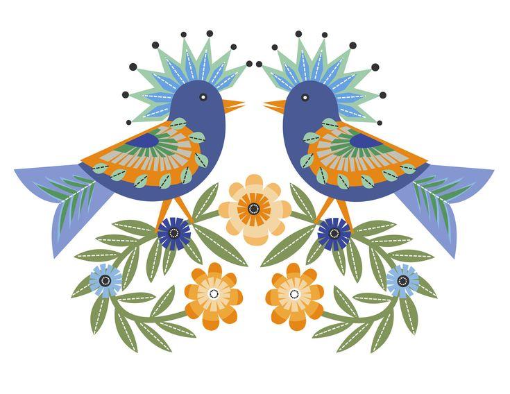 CbyC Original Illustration - Folk Art Birds