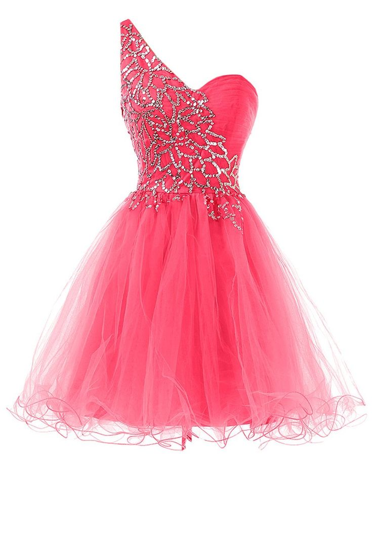 One shoulder tulle beaded knee length short homecoming dress