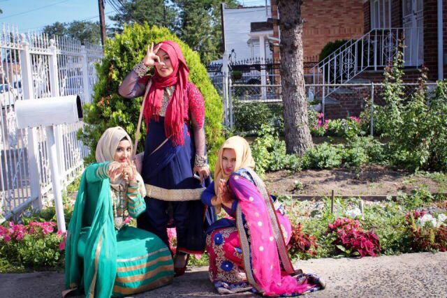 Saree and eid pink blue gold hijab