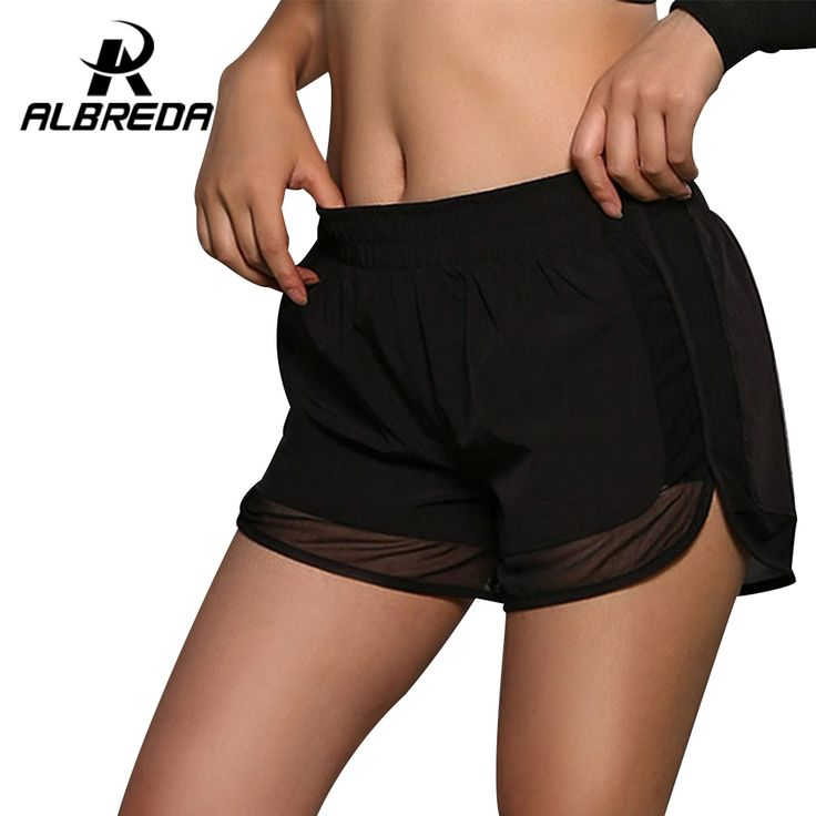 ALBREDA Womens Running Shorts Gym Mesh Shorts 2 In 1 Sport shorts Fitness Ladies Exercise Double Layer Yoga Short Tennis Shorts