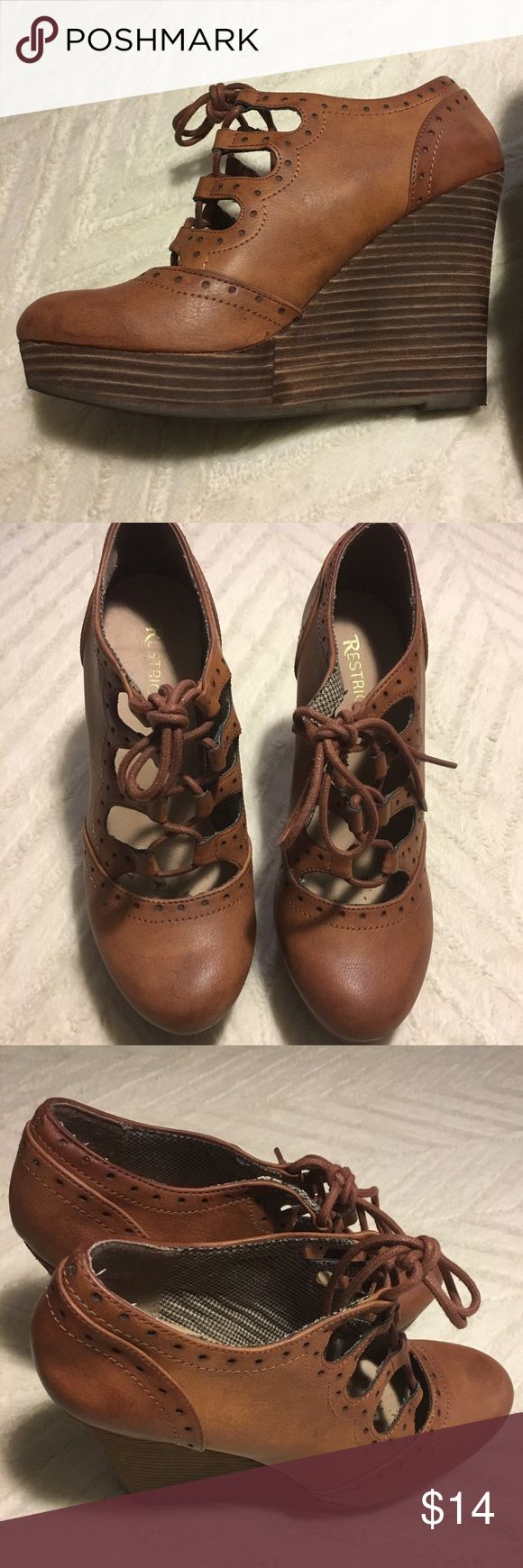 Restricted Brown Wedges Great condition, only work a couple times. Light brown wedges, size 8 Restricted Shoes Wedges